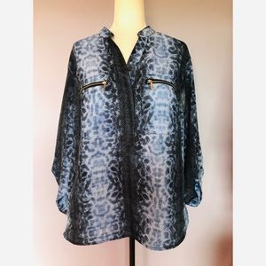Michael kors blue snake print button down blouse